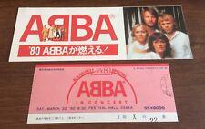 Abba JAPAN vintage 1980 ORIGINAL concert OSAKA ticket stub + PROMO FLYER nr mint