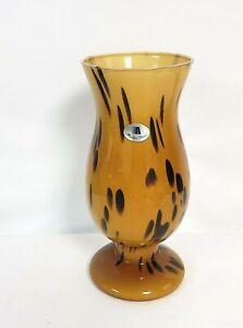 MAESTRI VETRAI AZZURA Italy Spotted Tortoise Murano Art Glass Vase New old stock