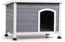 A 4 Pet Outdoor Wooden Dog House with Hinges,Raised Feet