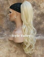 EXTRA LONG Bleach Blonde Ponytail Wavy Claw Clip on in Extension Hair Piece New