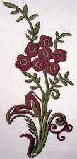 APPLIQUE PATCH BRODÉ thermocollant - FLEURETTES Bordeaux 13 X 27 cm
