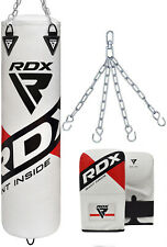 RDX 5ft Leather Filled Punch Bags Kick Boxing Gloves Chains & Ceiling Hook