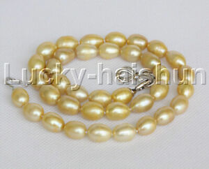 """18"""" 10X13mm rice champagne freshwater pearls Necklace 18KGP clasp j12250"""