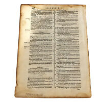 Antique 1693 Bible Leaf Page On Paper - Post Incunable - Christian Relic Old B