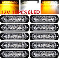 10x Amber/White 6 LED Emergency Hazard Warn Flash Strobe Beacon Caution Light us