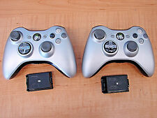 Lot of 2 Genuine Official Microsoft xbox 360 Wireless Controllers Gray