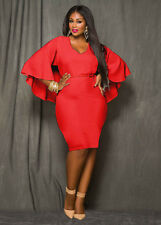 Womens Dress Plus Size Cape Party Evening Tunic Bodycon Dresses 12 14 16 18 20