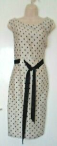 Grey and Black Polka Dot Pencil lined dress - Belt  used Good condition Size 16