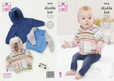 Raglan Sleeve Sweater Jumper Hoodie Knitting Pattern King Cole Baby DK 5416