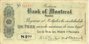 Mexico 1 Peso Bank of Montreal Currency Banknote 1915
