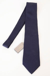Tom Ford dark navy silk texture logo long classic self-tie neck tie NEW $250