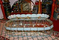 Vintage Beveled Glass Hanging Chandelier 2 Lamp 10 Lights LARGE Baby Blue