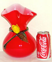 Vintage Cased Glass Vase Hand Blown Art Glass Crimped Bulbous Vase Red Yellow