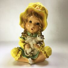 """Vtg 1974 Universal Statuary Corp Chalkware Young Girl With Small White Cat 10"""""""