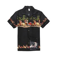 Men Aloha Shirt Cruise Tropical Luau Party Hawaiian Black Vintage Cars Surf Palm