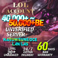 NA EUW EUNE OCE LAN LAS League of Legends LOL Account 40K+ BE L30 Unranked SMURF