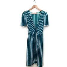 Oscar De La Renta Dress 6 Miss O Green White Stripe V Neck Silk Short Sleeve VTG