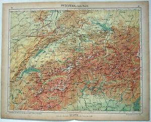 Switzerland - Original 1915 Physical Map by Kartographia Winterthur SA. Antique