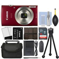 Canon IXUS 185 / ELPH 180 20.0MP Digital Camera 8x Optical Zoom Red + 16GB Kit