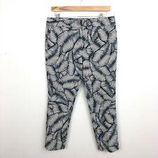 NWT Ann Taylor Factory Signature Pants Sz 8 Petite Blue White Leaf Print W14