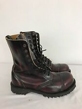 GETTA GRIP STEEL TOE 10 EYE GRINDERS GRIPFAST PUNK BRONZE LEATHER BOOTS UK 5