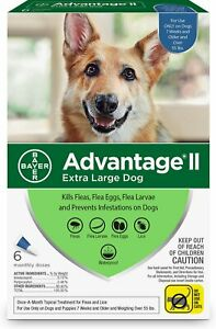Advantage II Flea Spot Treatment for Dogs, over 55 lbs - ( 6 Pack ) NEW