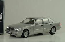 1997 mercedes-benz s600 v12 w140 Silver plata light grey 1:18 norev 183563