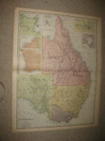 HUGE FOLIO SIZE ANTIQUE 1898 AUSTRALIA MAP SYDNEY MELBOURNE TORRES STRAIT SUPERB