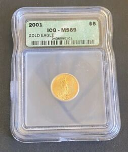 2001 American Gold Eagle $5 1/10ozt, ICG MS-69