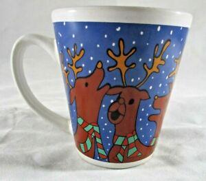 Christmas Santa and Reindeer Coffee Mug 11cm Tall x 10cm Diameter.