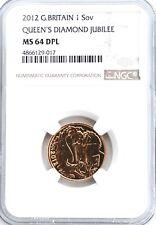 2012 Gold Full Sovereign Jubilee NGC MS64 DPL Great Britain Sovereign UK BU