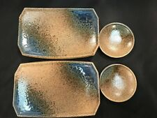 Japanese Sushi Plate Set with Sauce Dishes  Crackle glaze NEW