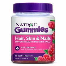 Natrol Hair Skin & Nails Gummies, Raspberry, 90 count NIB