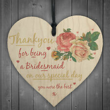 Thank You For Being A Bridesmaid Wooden Hanging Heart Wedding Favour GIFT Plaque
