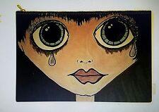 Big Eyes Sad Margaret Keane style ARTIST purse tote 8.5 x 12.5  fabric zipper
