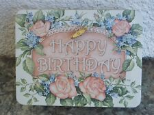 "Vintage Pink Roses Tin Music Box Plays ""Happy Birthday To You"" Lithograph Lid"