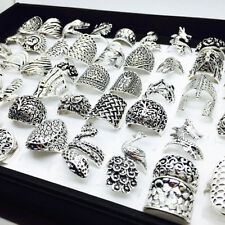 Wholesale 50pcs Mix Styles Silver Metal Women's Retro Jewelry Rings