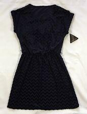NWT Women's City Triangle Navy Blue Flocked Geometric Dress-Size M