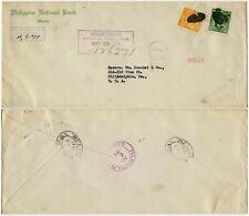 PHILIPPINES 1918 REGISTERED CENSORED PBC WW1 PRINTED ENV NATIONAL BANK 20c + 2c