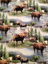"Elk Moose Scenic Nature River Man Cave Curtain Valance 15""x43"" Cotton Free Ship"