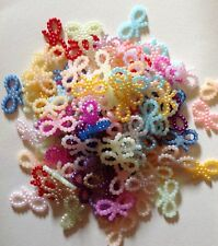 Pearl Bead Resin Butterfly Bow Mixed Colour Embellishments 100pcs