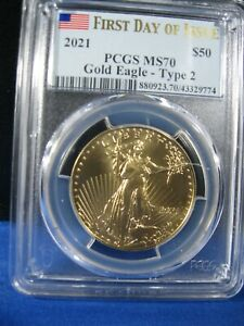 2021 $50 GOLD EAGLE PCGS MS 70 FIRST DAY OF ISSUE  TYPE 2