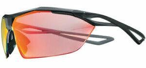 NIKE EV0914-001 VAPORWING R Matte Black w Red Speed Lenses Sport Sunglasses $395