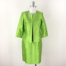 New Talbots 8 10 P Vibrant Green Skirt suit Silk Cotton Career Cocktail