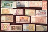Lot Of 15 World Banknotes. All Different. All Uncirculated. All Genuine.