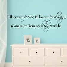 I'll Love You Forever Vinyl Wall Stickers Home Wall Decals Quote Art Vinyl Mural