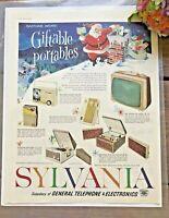 c1960 Vintage Magazine Ad-SYLVANIA RADIO-TV-HI-FI - SANTA CHRISTMAS ADVERTISING