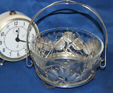More details for vintage cut glass crystal bowl with silver plated caddy with handle [pl3631]
