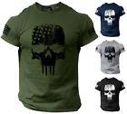 Skull T-Shirt USA Warrior Flag Distressed Military