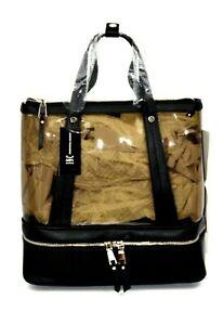 INC Clear Modern Trendy Convertible Tote Backpack Dual Handle Black